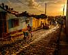 Evening Light on Cobbled Street in Trinidad, Cuba